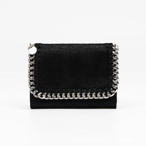 Plush Wallet With Chain Detail, Black